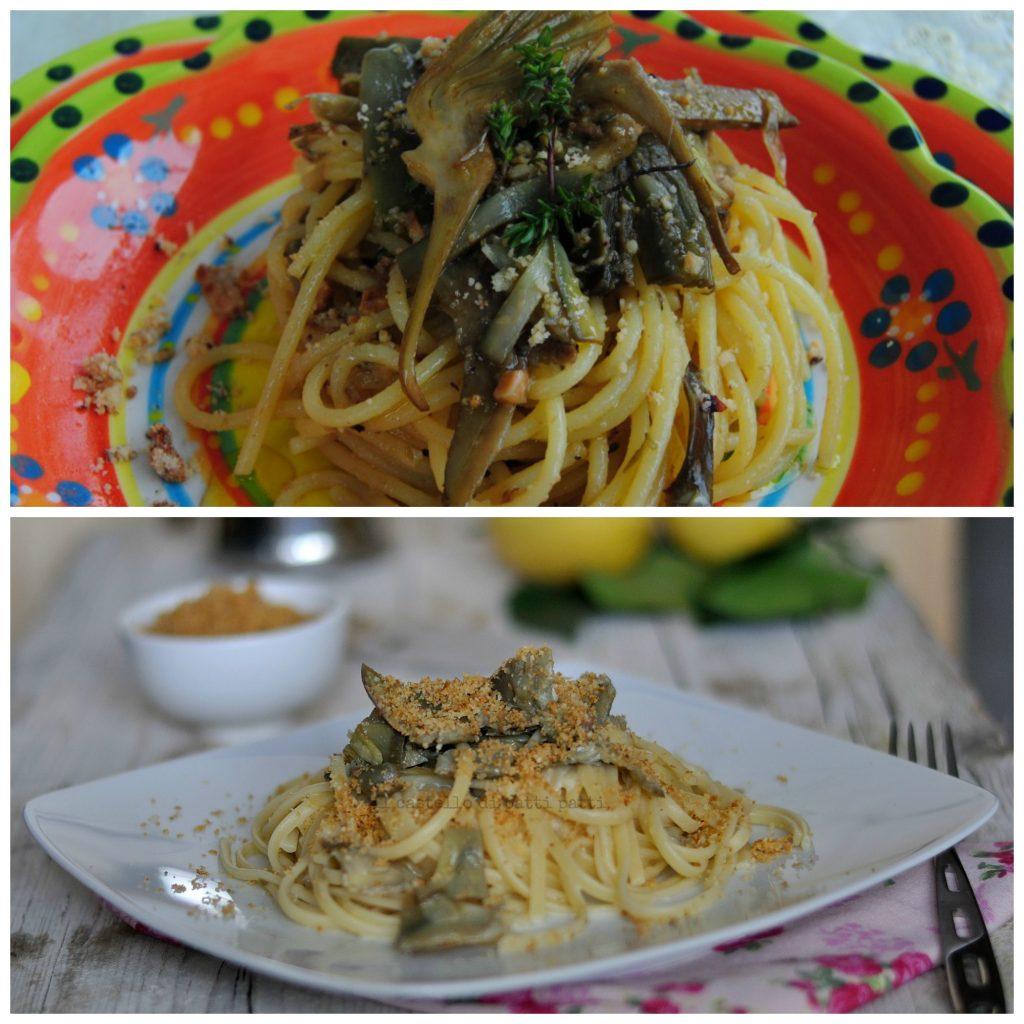 collage spaghetti carciofi