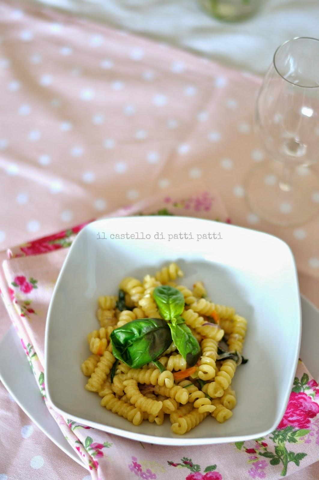 pasta con ortaggi e fonduta