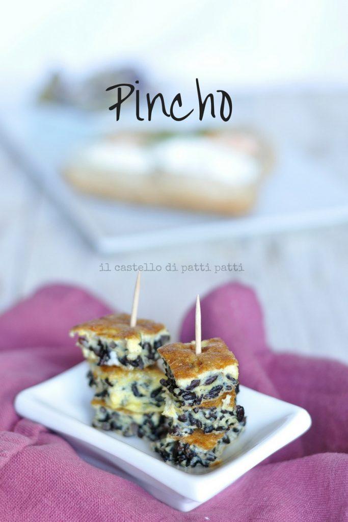 pincho tortilla di riso venere, zenzero e gamberetti